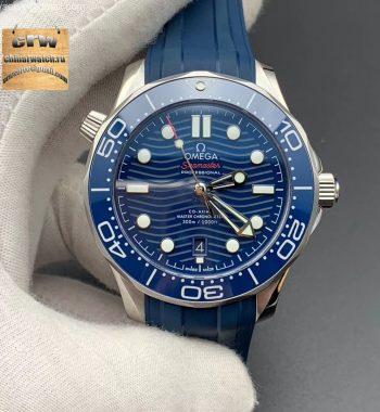2018 Seamaster Diver 300M VSF Blue Ceramic Blue Dial Blue Rubber Strap A8800