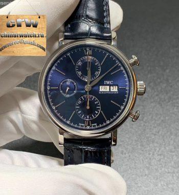 Portofino Chrono SS ZF Blue Dial Blue Leather Strap A7750