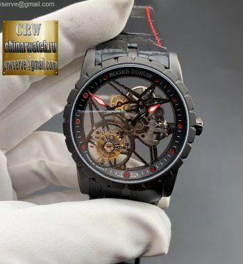 Excalibur Rddbex0393 PVD BBR Edition Skeleton Dial Black Leather Strap A2136 Tourbillon
