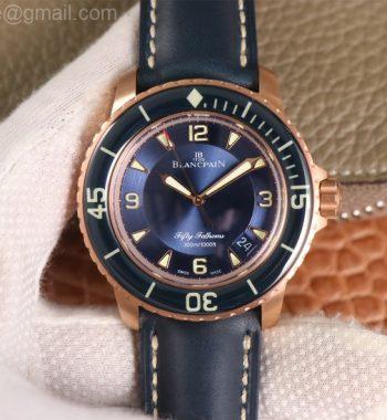 Fifty Fathoms RG Bright Blue ZF Edition Blue Leather Strap A1315