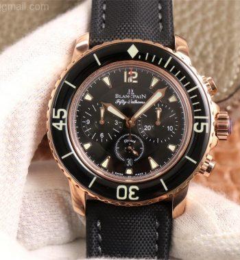 Fifty Fathoms Chronograph RG OMF Edition Black Dial Black Nylon Strap A7750