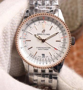 Navitimer 1 38mm SS KOR Edition White Dial White RG Inner Bezel SS Bracelet SW200