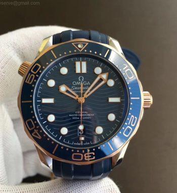 2018 Seamaster Diver 300M SS/RG VSF Edition RG Bezel Blue Dial Blue Rubber Strap A8800