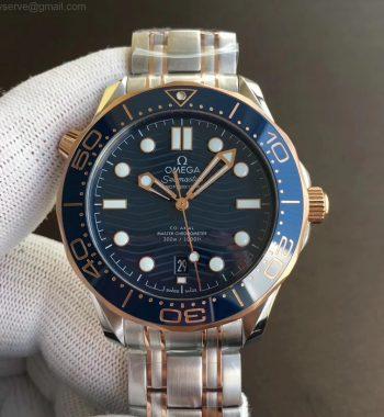 2018 Seamaster Diver 300M SS/RG VSF Edition RG Bezel Blue Dial SS/RG Bracelet A8800