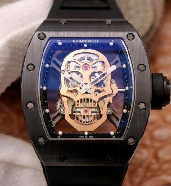 RM052 Skull Black Ceramic ZF Edition RG Skeleton Dial Black Rubber Strap NH05A