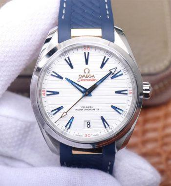 Aqua Terra 150M Master Chronometers VSF Edition White Dial Gold Hand Blue Rubber Strap A8900 Super Clone