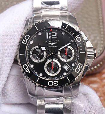 HydroConquest Chrono SS Black Ceramic Bezel OXF Edition Black Dial SS Bracelet A7750