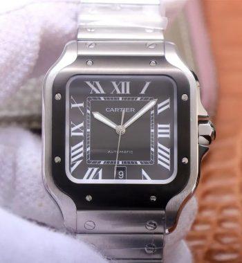 Santos de Cartier 40mm 2018 V6F Edition Black Bezel White Dial SS Bracelet MIYOTA 9015 V2