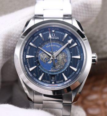 Aqua Terra Worldtimer VSF Edition Blue Dial SS Bracelet A8938 Super Clone