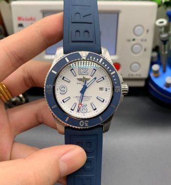 Superocean Automatic 44mm TF Edition White Dial Blue Bezel Blue Rubber Strap A2824
