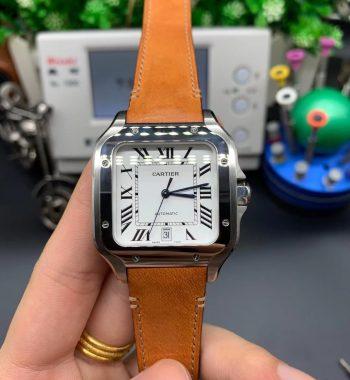 Santos de Cartier 40mm 2018 BVF Edition White Dial Brown Leather Strap MIYOTA 9015