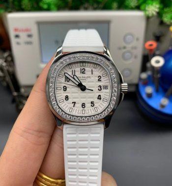 Aquanaut 5068 SS Full Paved Diamonds PPF Edition White Textured Dial White Rubber Strap 324CS
