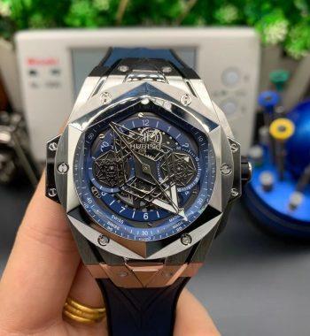 Big Bang Sang Bleu II Chrono SS HRF Edition Blue Dial Blue Gummy Strap A7750