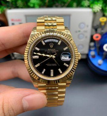 Day-Date 40mm EWF Full Gold Black Dial SS Bracelet A3255
